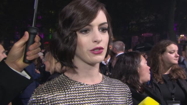 INTERVIEW Anne Hathaway on being on set on Christopher Nolan's vision at 'Insterstellar' UK Premiere at Odeon Leicester Square on October 29 2014 in...