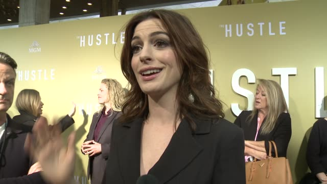 interview anne hathaway on making the hustle at the the hustle world premiere at arclight cinerama dome on may 08 2019 in hollywood california - cinerama dome hollywood stock videos & royalty-free footage