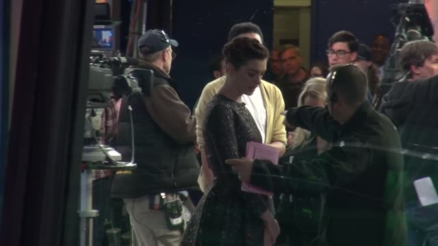 Anne Hathaway on the set of the Good Morning America show in Celebrity Sightings in New York