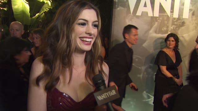 Anne Hathaway on the Vanity Fair Oscar Party the 2011 Vanity Fair Oscar Party Arrivals at Hollywood CA