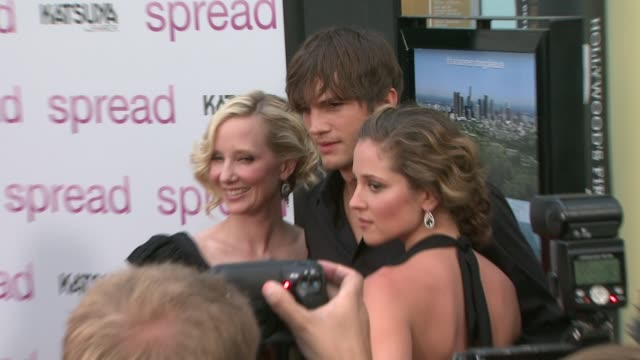 anne heche, ashton kutcher, margarita levieva at the 'spread' premiere at hollywood ca. - anne heche stock videos & royalty-free footage