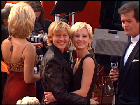 anne heche at the 1997 emmy awards arrivals at the pasadena civic auditorium in pasadena, california on september 14, 1997. - anne heche stock videos & royalty-free footage