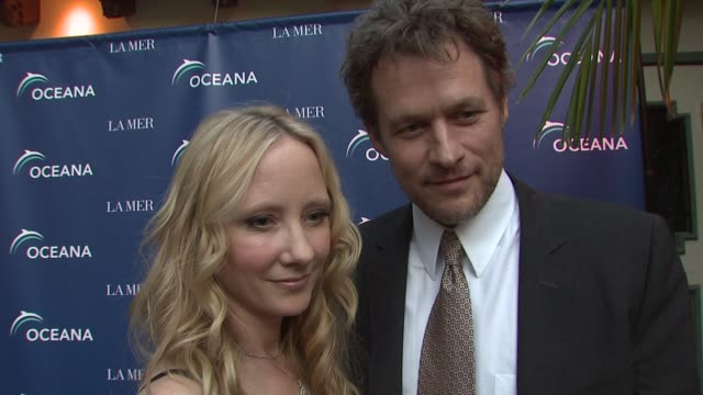 anne heche & james tupper on being a part of the night, why they are supporting oceana, how people can help save the oceans, what they appreciate... - anne heche stock videos & royalty-free footage