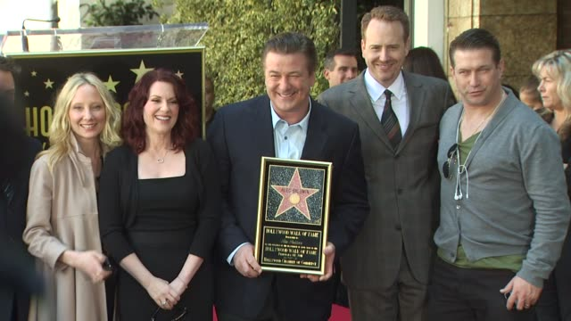 anne heche megan mullally alec baldwin and stephen baldwin at the alec baldwin honored with a star on the hollywood walk of fame at hollywood ca - alec baldwin stock videos & royalty-free footage