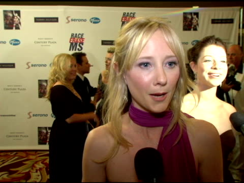 anne heche on the event, what nancy has done for why the event is different than other events, the disco theme, her outfit at the 13th annual race to... - anne heche stock videos & royalty-free footage