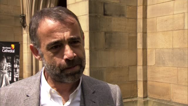 anne kirkbride memorial service in manchester interviews england manchester manchester cathedral ext michael le vell and jimmi harkishin interviews... - マイケル レ ベル点の映像素材/bロール