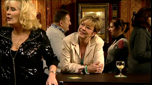 anne kirkbride on set of coronation street showing iterior shots of actress anne kirkbride on set of coronation streeton february 4th 2010 in... - soap opera stock videos & royalty-free footage