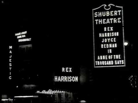 'anne of the thousand days'. opening night: 44th street lights: majestic rex harrison shubert theatre anne of the thousand days. mary martin signing... - anno 1949 video stock e b–roll