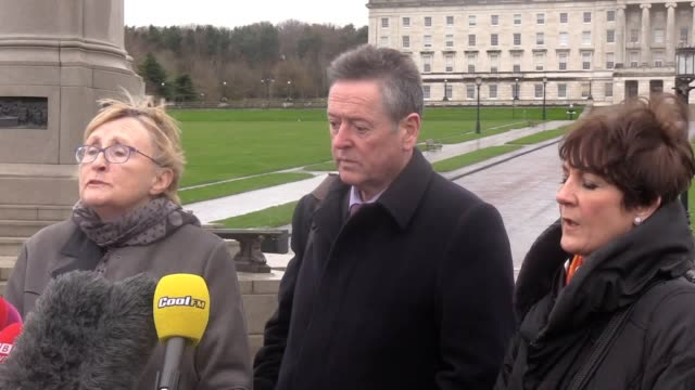 anne speed of unison, kevin mcadam of unite and maria morgan from nipsa speak outside stormont in belfast, who will take part in talks with the... - strike industrial action stock videos & royalty-free footage