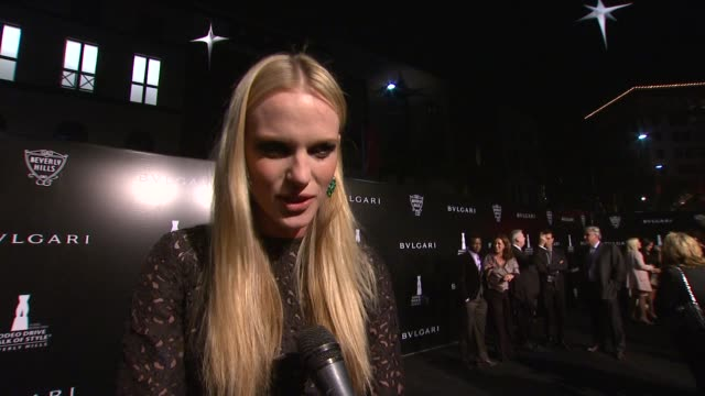 Anne V on being a part of the night what the brand evokes for her at Rodeo Drive Walk Of Style Honoring BVLGARI And Mr Nicola Bulgari on12/5/12 in...