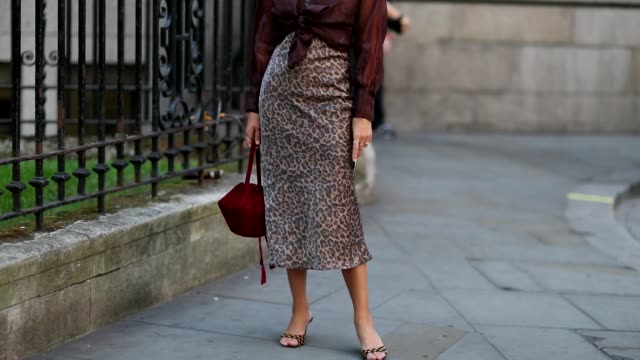 AnneLaure Mais wearing animal print skirt brown blouse sandals bordeaux bag is seen outside Erdem during London Fashion Week September 2018 on...