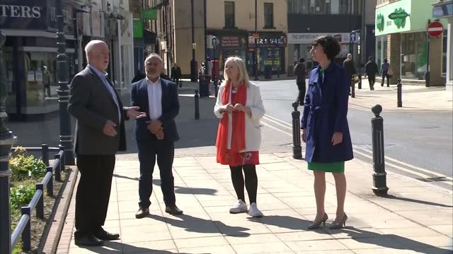 anneliese dodds visit to dewsbury; england: west yorkshire: kirklees: dewsbury: ext gv the courts banqueting and conference suites / various of... - politics stock-videos und b-roll-filmmaterial