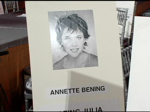 annette bening and tim robbins's seat cards at the 2005 screen actors guild sag awards rehearsals at the shrine auditorium in los angeles california... - annette bening stock videos & royalty-free footage