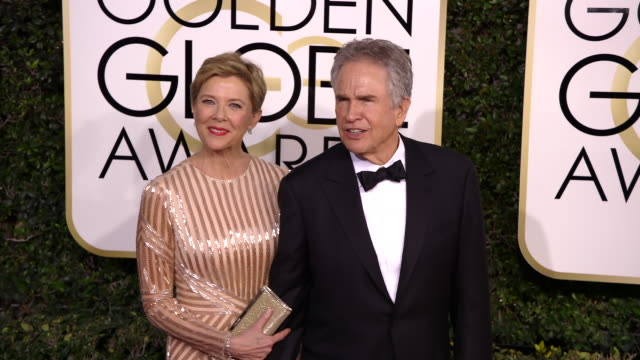 annette bening and warren beatty at 74th annual golden globe awards arrivals at 74th annual golden globe awards arrivals at the beverly hilton hotel... - beverly beatty stock videos & royalty-free footage