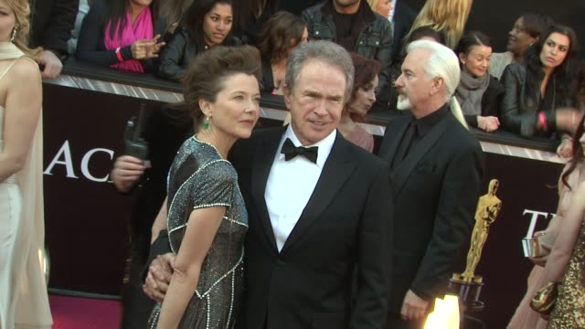 annette bening and warren beatty at the 83rd annual academy awards arrivals at hollywood ca - annette bening stock videos & royalty-free footage