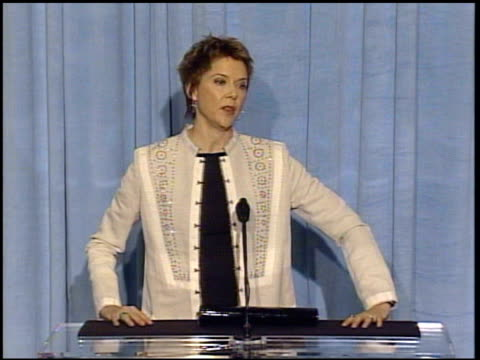 annette bening at the 2005 annual academy awards nominee luncheon interview room at the beverly hilton in beverly hills california on february 7 2005 - annette bening stock videos & royalty-free footage