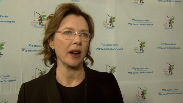 interview annette bening on being at the event at stars come out for the ucsf medical center and the painted turtle's starry evening of music comedy... - annette bening stock videos & royalty-free footage
