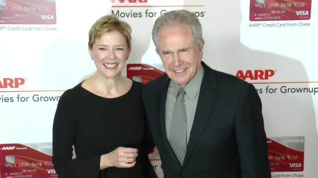 annette bening, warren beatty at aarp's 16th annual movies for grownups awards in los angeles, ca 2/6/17 - warren beatty stock videos & royalty-free footage