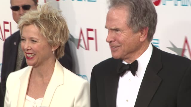 annette bening warren beatty at the 37th afi life achievement award at los angeles ca - annette bening stock videos & royalty-free footage