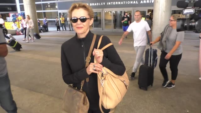 annette benning arriving at lax airport in celebrity sightings in los angeles - annette bening stock videos & royalty-free footage
