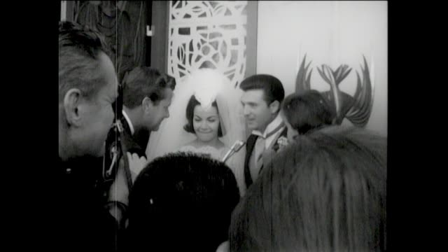 Annette Funicello Wedding 1965 Married to Jack Gilardi Many photographers and newsmen SOF with Annette and Jack Annette and Jack together after...