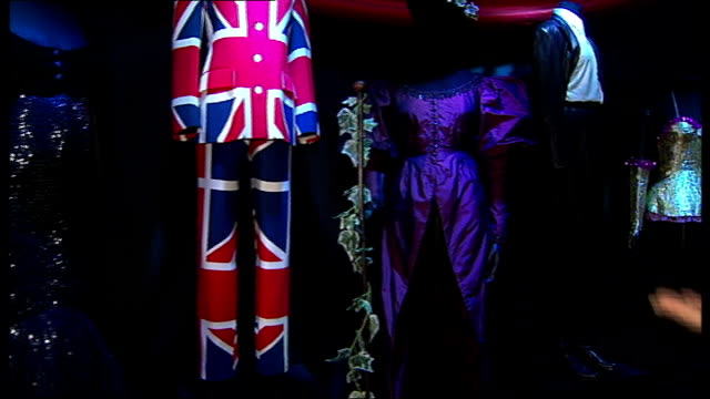 Annie Lennox holds exhibition at Victoria and Albert Museum Union Jack costume on display as Lennox discusses SOT