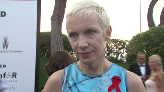 annie lennox on films and music being life-changing, on hiv being a human rights issue. at the cannes film festival 2009: amfar red carpet at antibes... - retrovirus video stock e b–roll