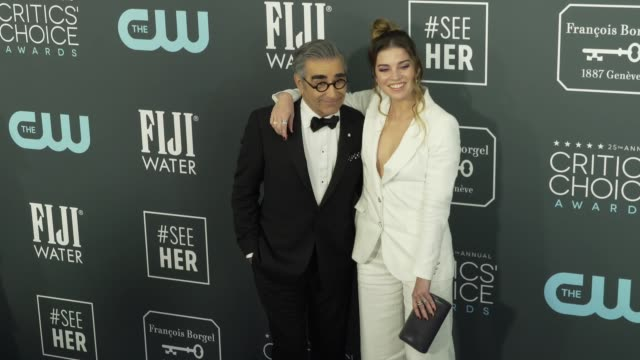 annie murphy and eugene levy at the 25th annual critics' choice awards at barker hangar on january 12 2020 in santa monica california - gif stock videos and b-roll footage