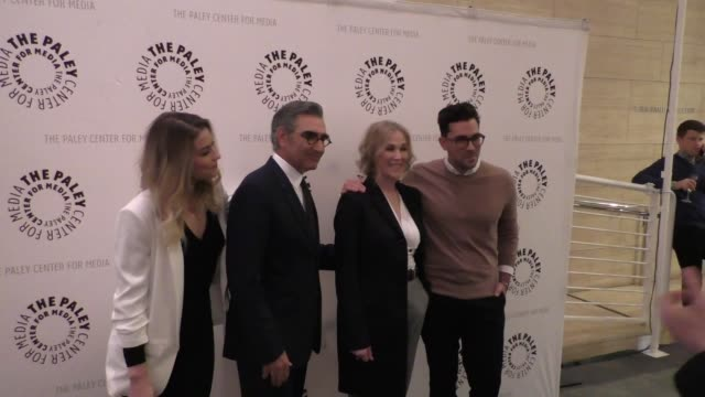 annie murphy, eugene levy, catherine o'hara & daniel levy at the paley center for media presents paleylive an evening with schitt's creek at paley... - paley center for media los angeles stock videos & royalty-free footage