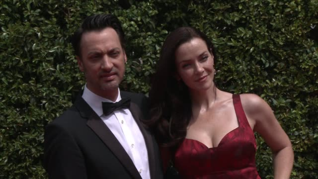 annie wersching and stephen full at the 2015 creative arts emmy awards at microsoft theater on september 12 2015 in los angeles california - annie wersching stock videos and b-roll footage