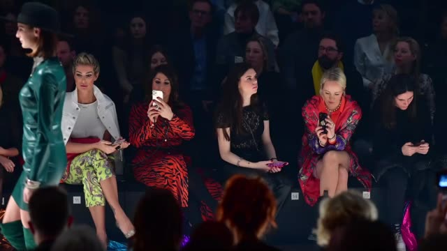 berlin germany january 15 annika gassner and kathrin gelinsky watch the sportalm show during berlin fashion week autumn/winter 2020 at kraftwerk... - gif stock videos and b-roll footage