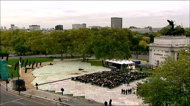 remembrance day ceremonies hyde park people gathered for dedicxation of memorial to new zealand troops queen elizabeth ii attending ceremony memorial - remembrance day stock videos and b-roll footage