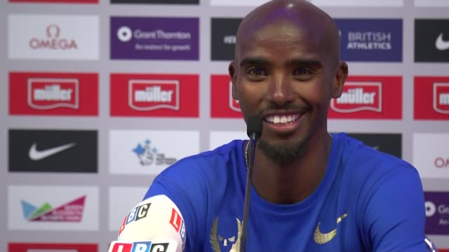 vídeos de stock, filmes e b-roll de day 1 england london photography** mo farah press conference sot it's not a nice thing last year you guys put me through hell/ i do feel sorry for... - rio russian