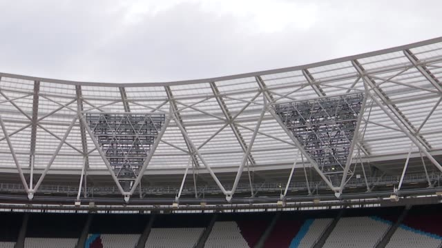 Day 1 Mo Farah press conference SOT On being back in London and the Olympic Stadium Olympic Stadium EXT Empty running track and stands Floodlights...
