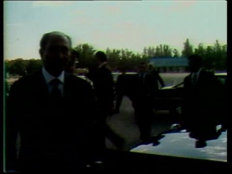 anniversary of sadat assassination upitn lib ms anwar sadat meeting with menachem begin israeli president - assassination stock videos & royalty-free footage