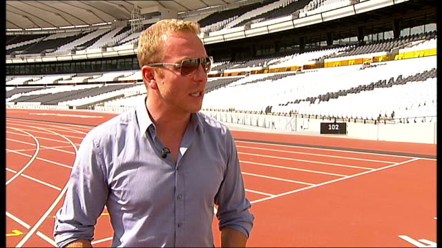 anniversary run at the olympic park: chris hoy interview; hoy interview sot - hoy stock videos & royalty-free footage