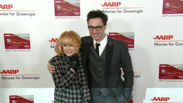 annmargret zach braff at aarp's 16th annual movies for grownups awards in los angeles ca - ann margret stock videos & royalty-free footage