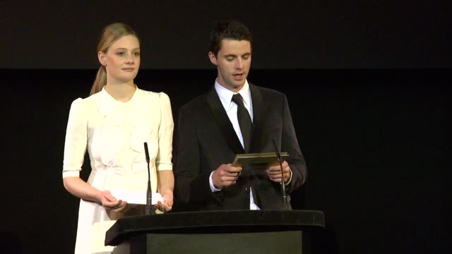 announcement for adapted screenplay by romola garai and matthew goode at the 2010 orange bafta nominations at london england - matthew goode stock videos & royalty-free footage