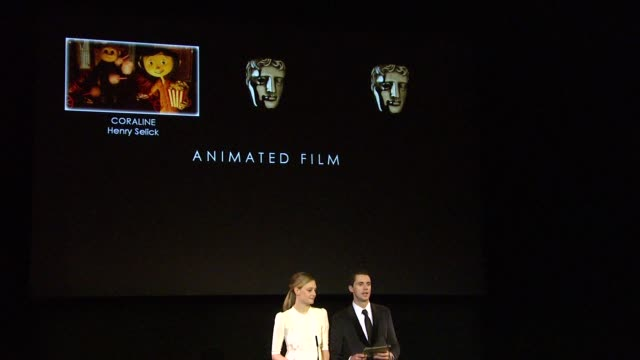 announcement for animated film by romola garai and matthew goode at the 2010 orange bafta nominations at london england - matthew goode stock videos & royalty-free footage