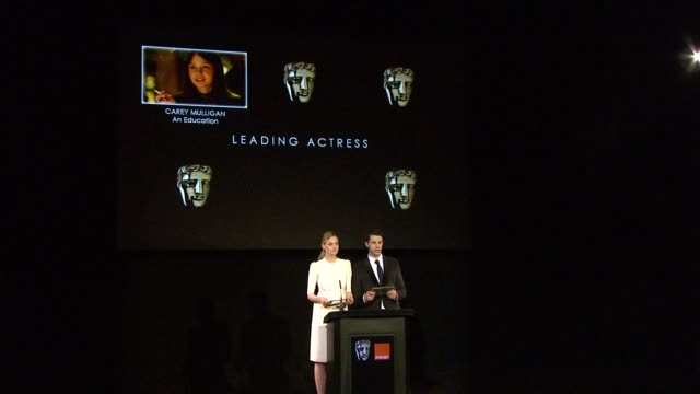 announcement for leading actress by romola garai and matthew goode at the 2010 orange bafta nominations at london england - matthew goode stock videos & royalty-free footage