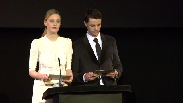 announcement for original screenplay by romola garai and matthew goode at the 2010 orange bafta nominations at london england - matthew goode stock videos & royalty-free footage