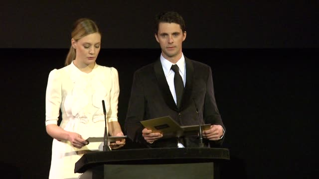 announcement for supporting actor by romola garai and matthew goode at the 2010 orange bafta nominations at london england - best supporting actor stock videos & royalty-free footage