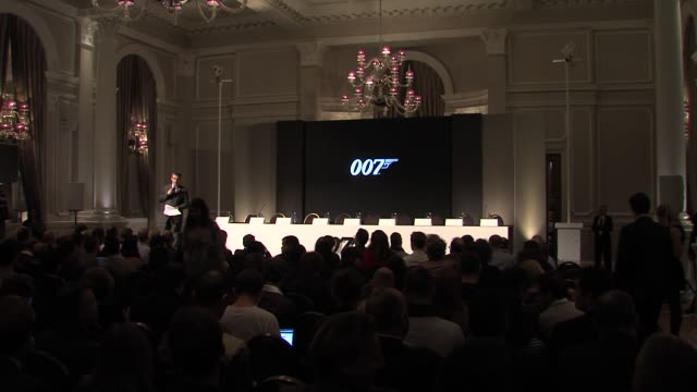 announcement of event at the bond 23 launch press conference skyfall at london england - skyfall stock videos and b-roll footage