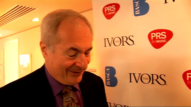 vídeos de stock e filmes b-roll de announcement of nominations for ivor novello awards / interviews paul gambaccini interview sot duffy and coldplay must have had really good years... - elbow