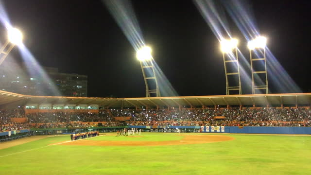 announcement of the home club team. the general ambiance in the 'augusto cesar sandino' stadium while a semi-final game between villa clara and... - atmosphere filter stock videos & royalty-free footage