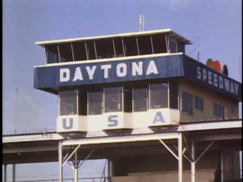 ms announcer's box at daytona speedway/ daytona, florida - western script stock videos & royalty-free footage