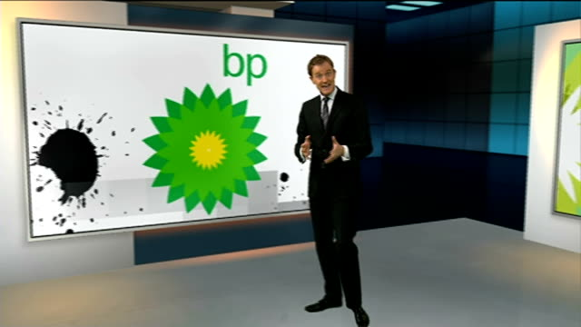stockvideo's en b-roll-footage met bp announces fall in profits due to falling oil prices england london gir int reporter to camera at graphics wall/ louise cooper interview sot/ bp... - bp