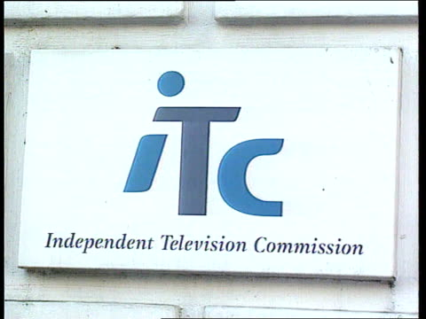 itv announces news shakeup news at ten to move ext ms 'itc independent television commission' sign on wall - itv news at ten stock videos & royalty-free footage