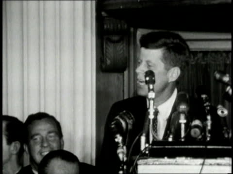 JFK announcing Lyndon B Johnson as majority leader to the Pennsylvania delegation and shaking his hand / United States