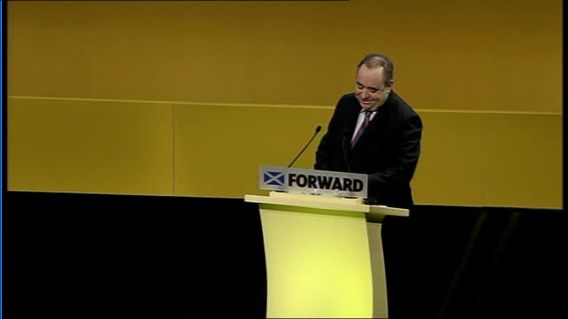 snp annual conference / alex salmond call for independence scotland inverness eden court theatre int alex salmond msp at podium at scottish national... - scottish national party stock videos & royalty-free footage